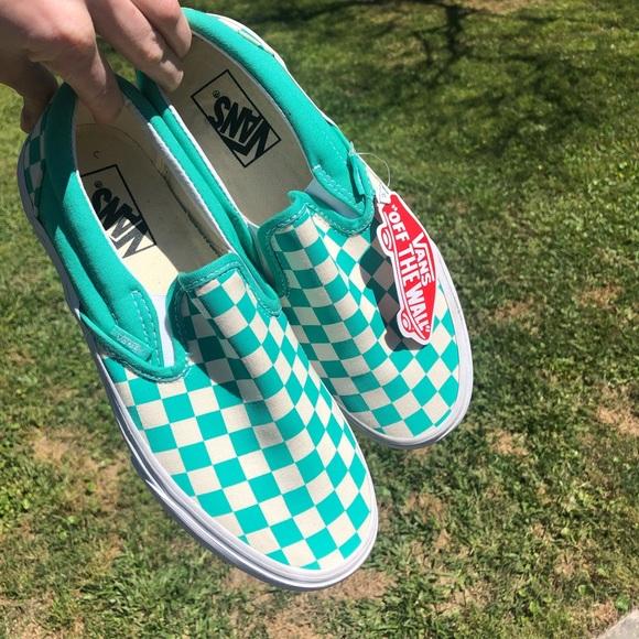 Vans Shoes | Mint Green Checkered Vans